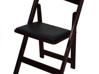 Kestell Oak Folding Chair With Vinyl Seat Cushion  Set Of 2