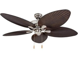 EcoSure Abaco Brushed Nickel 52 inch Ceiling Fan with Palm leaf Blades and Remote Control  Retail 153 49