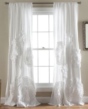 95 x 54 White Silver Orchid Ince Flora Curtain Panel