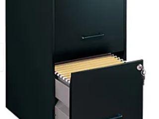 Black 2 Drawer Metal File Cabinet