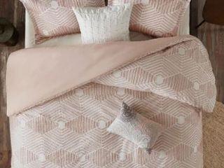 The Curated Nomad latia Blush Cotton Jacquard Queen Duvet Cover Set  Retail 89 99