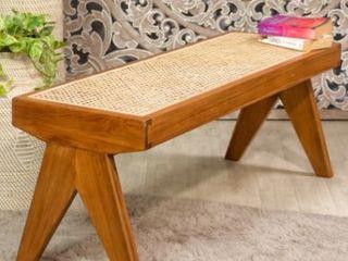 Eiffel Teak Wood Bench with Cane Seats  Weaved 47 1 4 l