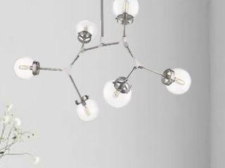 Modern Bubble Geometric Six light Chandelier in Satin Nickel  Retail 319 99