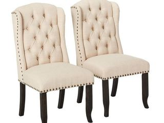 Furniture Of America 24  Tufted Wingback Dining Chair Set Of 2   Ivory