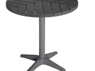 Apollo Silver  Slate Grey Poly Wood Round Aluminum Outdoor Bistro Table by Havenside Home  Retail 199 49