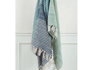 50 x60  Stripe Throw Blanket Blue Green   Rizzy Home