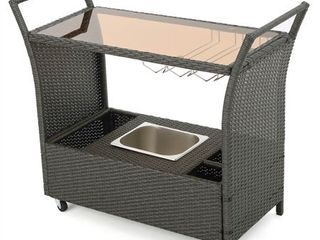 Bahama Outdoor Wicker Bar Cart with Glass Top by Christopher Knight Home  Retail 241 49