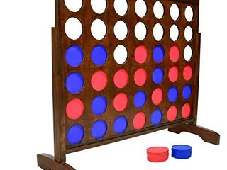 GoSports Giant Portable 4 in a Row Game Dark Wood Stain   Huge 4 Foot Width   with Rules and Carry Bag  Brown