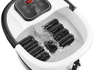 Foot Spa Bath Massager with Heat Bubbles  8 Removable Massage Rollers  Time  amp  Temperature Control