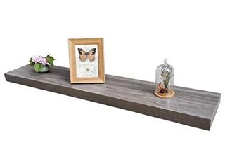 Homewell Wood Floating Shelves for Home Decoration  Wall Mounted  48 x9 25 x2  Grey