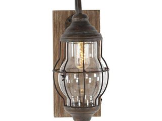 Decmode Farmhouse 17 inch Brown Iron and wood lED Wall Sconce  Battery Powered