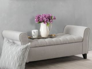 Keikp Contemporary Rolled Arm Fabric Storage Ottoman Bench by Christopher Knight Home