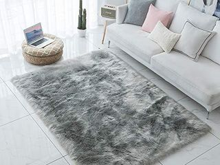 Carvapet Shaggy Soft Faux Sheepskin Fur Area Rugs 8ft x 10ft  Grey