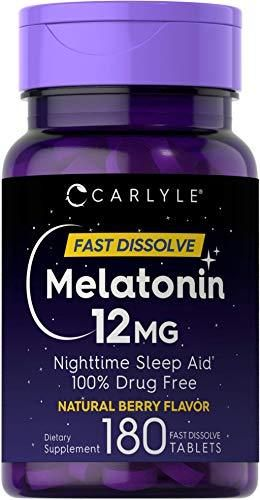 Carlyle Melatonin 12 mg Fast Dissolve 180 Tablets   Nighttime Sleep Aid   Natural Berry Flavor   Vegetarian  Non GMO  Gluten Free