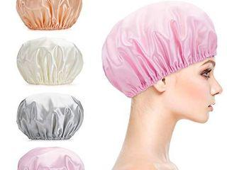Titanker Shower Cap  4 Pack EVA Shower Caps  Double layer Waterproof Shower Cap for Women  Reusable Bathing Hair Caps for Adult  Medium Size  Gray  Pink  White  Glod
