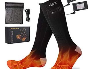 Vipoo Heated Socks  Winter Electric Rechargeable 3 Heating Settings Thermal Socks  Winter Skiing Camping Hiking Warm Socks for Men and Women   Black Gray