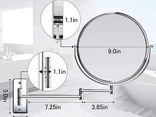 Gospire 9  large Size Wall Mount Makeup Mirror with 5X Magnification Double Sided Swivel Mirror Polished Chrome Finished