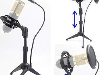 Desktop Microphone Tripod Suspension Stand with Shock Mount Anti Vibration Mic Holder and 4  Round Mask Shield Double Net Wind Screen Pop Filter  large  Black