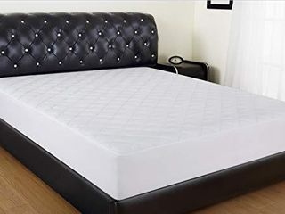 Allrange Coolmax Fiber Hypoallergenic Quilted Mattress Pad  Coolmax and Cotton Fabric Cover  Snug Fit Stretchy to 18  Deep Pocket  Polyester Fill  Mattress Protector  White  Twin Xl