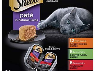 SHEBA PERFECT PORTIONS Soft Wet Cat Food PatAc in Natural Juices Savory Chicken  Roasted Turkey    Tender Beef EntrAces Variety Pack   24  2 6 oz  Easy Peel Twin Pack Trays