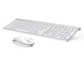 Wireless Keyboard and Mouse  Vssoplor 2 4GHz Rechargeable Compact Quiet Full Size Keyboard and Mouse Combo with Nano USB Receiver for Windows  laptop  PC  Notebook White and Silver