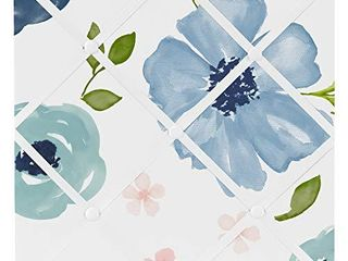 Sweet Jojo Designs Navy Blue and Pink Watercolor Floral Fabric Memory Memo Photo Bulletin Board   Blush  Green and White Shabby Chic Rose Flower