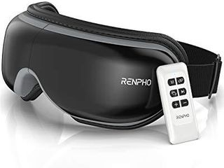 RENPHO 2 0   Eye Massager with Remote Control   Heat  Compression  Bluetooth Music Rechargeable Eye Therapy Massager for Relieve Eye Strain Dark Circles Eye Bags Dry Eye Improve Sleep