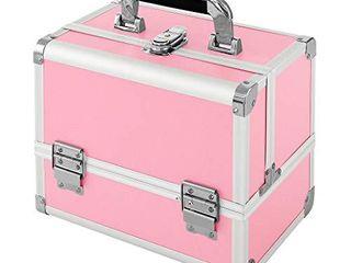 Makeup Train Case  MCvilla Professional Cosmetic Case Makeup Storage Organizer Box Durable PU Aluminum Frame with 3 Trays  Mirror  Brush Holder and Key lock   Pink