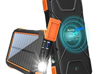 BlAVOR Solar Charger Power Bank 18W  QC 3 0 Portable Wireless Charger 10W 7 5W 5W with 4 Outputs   Dual Inputs  20000mAh External Battery Pack IPX5 Waterproof with Flashlight   Compass  Orange