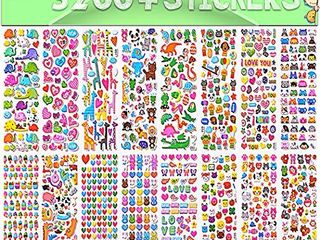 Stickers for Kids  3D Puffy Stickers  64 Different Sheets  3200  Stickers  Including Animals  Cars  Airplane  Food  letters  Flowers  Pets  Cakes and Tons More