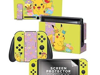 Controller Gear Authentic and licensed Nintendo Switch Skin   Screen Protector Set   Pokemon    Blooming Set 1    Nintendo Switch