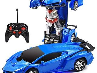 Trimnpy RC Cars Robot for Kids Remote Control Model Automobile Transformation Toys with One Button Deformed Vehicle and 360Rotating Drifting 1 18 Scale  Best Gift for Kids and Adults  Blue