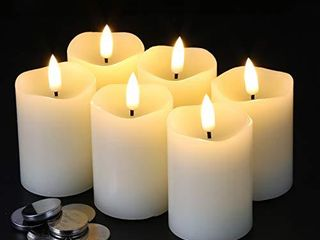 Eywamage Flameless Pillar Candles D 2  H 3  Flickering Real Wax lED Votive Candles with Timer Battery Operated 6 Pack Ivory