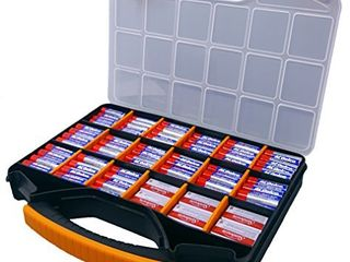 Massca Battery Storage Box Organizer Stores AAA  AA  and C Size  Hinged Box Made of Durable Plastic in a Slim Design with 18 compartments