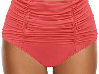 GRAPENT Women s Coral High Waisted Ruched Swim Bottom Bikini Tankini Swimsuit Briefs Size M