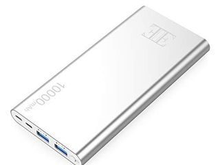 EIUE External Battery 2 USB Outputs Portable Charger Power Bank with Type C Input Aluminum Shell  Intelligent Charging Tech for iPhone  iPad and Android Devices