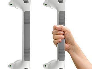 Ameriluck 16 5  Suction Bath Grab Bar with Indicators  Balance Assit Bathroom Shower Handle  White Grey  Pack of 2