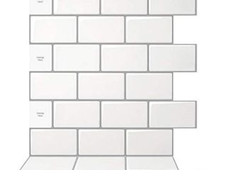 Art3d 10 Sheet Peel and Stick Backsplash  12 in  x 12 in  Subway 3D Wall Panels  Mono White with Gray Grout