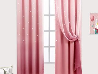 Hughapy Star Curtains Ombre Curtain for Kids Girls Bedroom   Tulle Overlay Star Cut Out Curtains Mix and Match Curtains for living Room  Room Darkening Window Curtains  1 Panel    52W x 108l  Blue