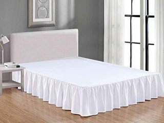 Sheets   Beyond Wrap Around Solid luxury Hotel Quality Fabric Bedroom Dust Ruffle Wrinkle and Fade Resistant Gathered Bed Skirt 14 Inch Drop  Full  White