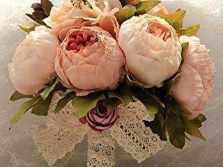 SISJUlY Handmade Artificial Peony Silk Flowers Bouquet Wedding Bouquet Bridal Bridesmaid Bouquet Home Wedding Decoration  Champagne