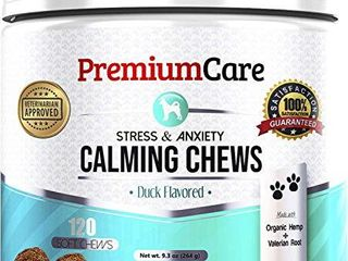 Hemp Calming Treats for Dogs   Made In USA   Vet Approved   Helps With Dog Anxiety  Separation  Barking  Stress Relief And Thunderstorms   Natural Calming Relaxer for Aggressive Behavior   120 Chews