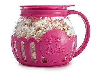 Ecolution Original Microwave Micro Pop Popcorn Popper  Borosilicate Glass  3 in 1 lid  Dishwasher Safe  BPA Free  1 5 Quart   Snack Size  Hot Pink