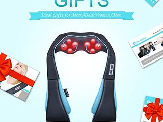 Neck Shoulder Back Massager with Heat   Shiatsu Neck Massager Present  Gift for Men   Women   Mom   Dad   Deep Kneading Massage for Neck  Back  Shoulder  Waist  leg  Feet and Muscle