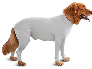 Shed Defender Original Dog Onesie Seen On Shark Tank  Contains Shedding of Dog Hair for Home  Car  Travel Anxiety Calming Shirt  Surgery Recovery Body Jumpsuit  E Collar Alternative Heather Grey  XS