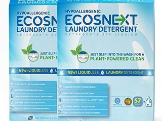 ECOSNext liquidless laundry Detergent Squares  Free   Clear  114 loads  57 Count  2 Pack