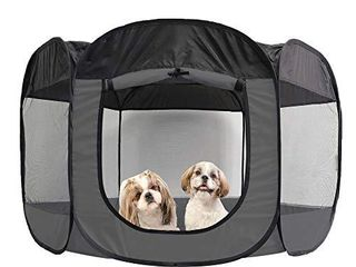 Furhaven Pet Playpen   Indoor Outdoor Mesh Open Air Playpen and Exercise Pen Tent House Playground for Dogs and Cats  Gray  Extra large
