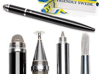 Capacitive 4 in 1 Stylus Pen with Replaceable Brush  Fiber Tip  Precision Disc   Ballpoint Pen in Box  by The Friendly Swede