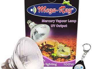 MegaRay Mercury Vapor Bulb UV Output lamp 120V UVB for Reptiles Bundle with a lumintrail Keychain light  100W