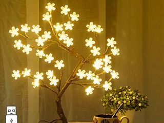 Bolylight Cherry Blossom Tree lamp 16 73in 40l lED Table lamp Indoor Artificial Decoration lighted Tree for Bedroom Party Wedding Office Home Warm White